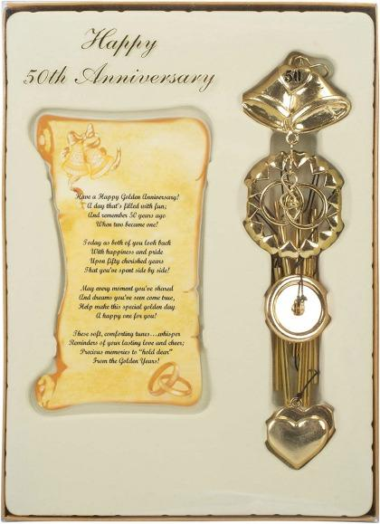 Golden 50th Anniversary Wind Chime Keepsake