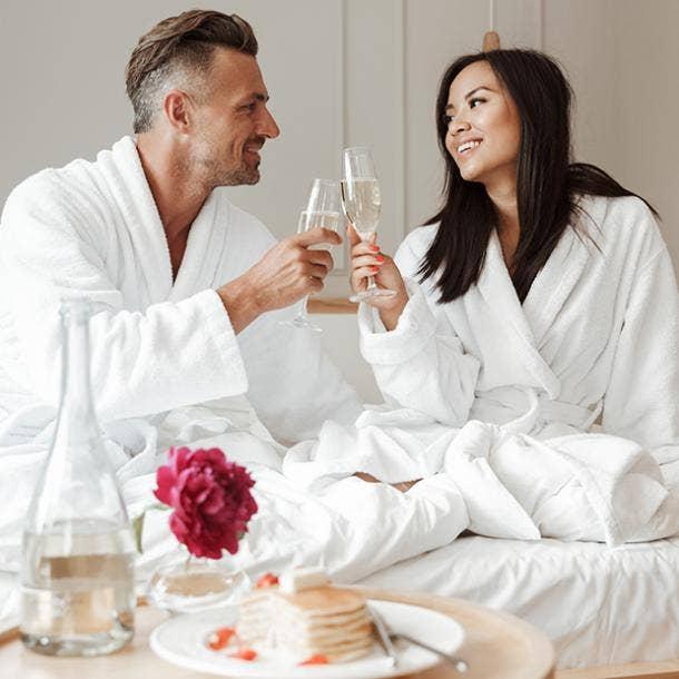 couple in hotel bathrobes