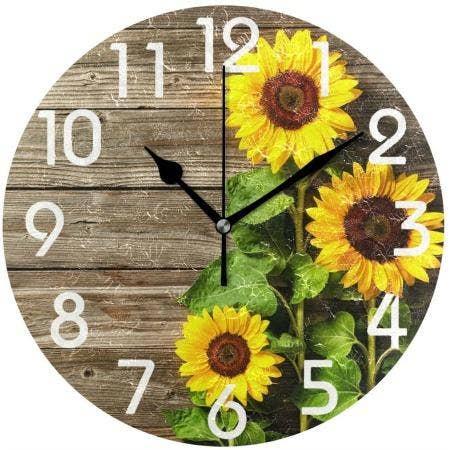 Naanle Sunflower Vintage Wood Clock
