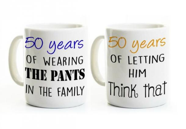 His and Hers Coffee Mugs '50 Years Married'