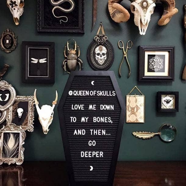 halloween wedding ideas coffin letter board