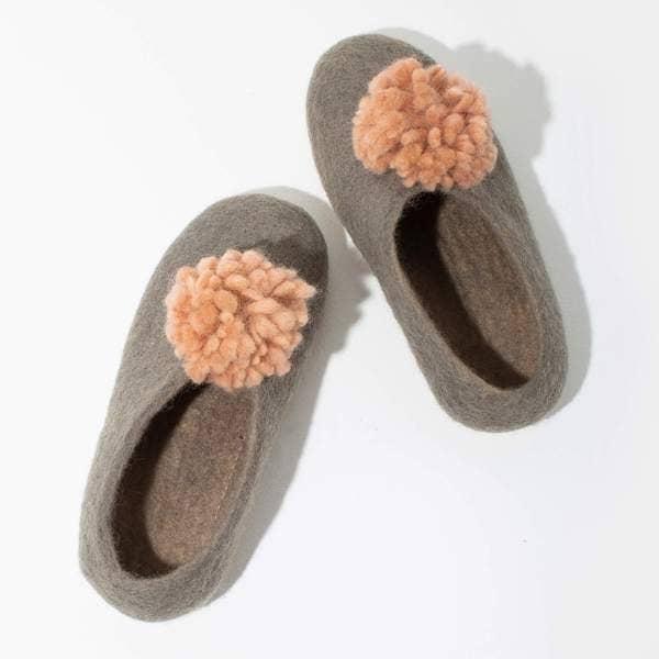 Mulxiply Pom Pom Felt Slippers