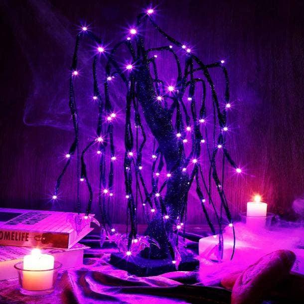 halloween wedding ideas led tree centerpiece