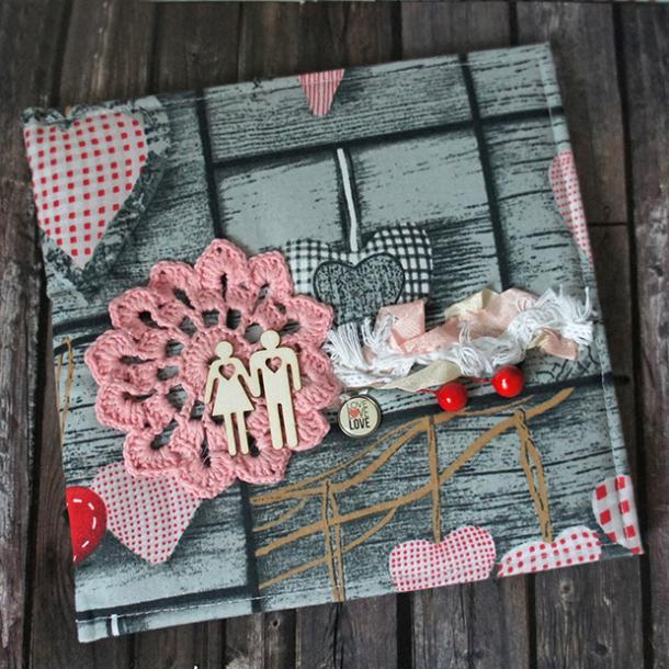 scrapbook with hearts on the front