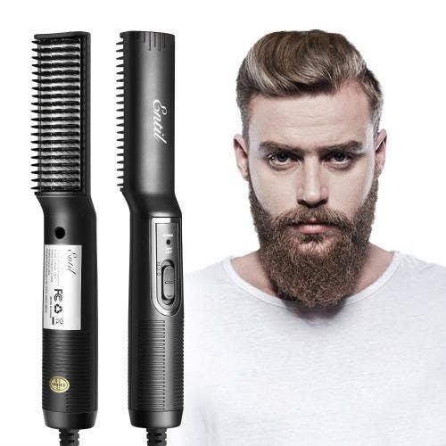 Entil Ceramic Beard Straightener & Ionic Beard Brush