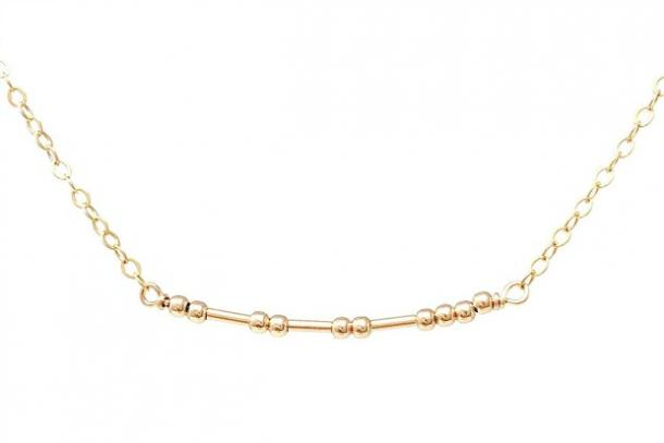 JENNYandJUDE Custom Gold Fill Morse Code Necklace