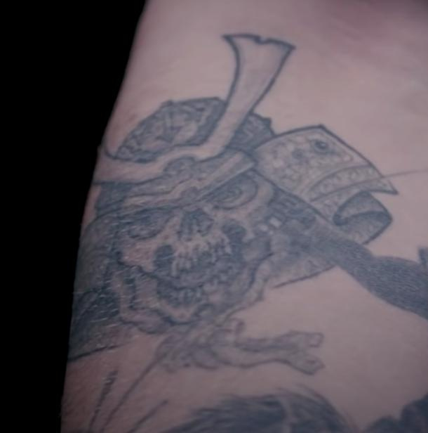 post malone samurai skull tattoo