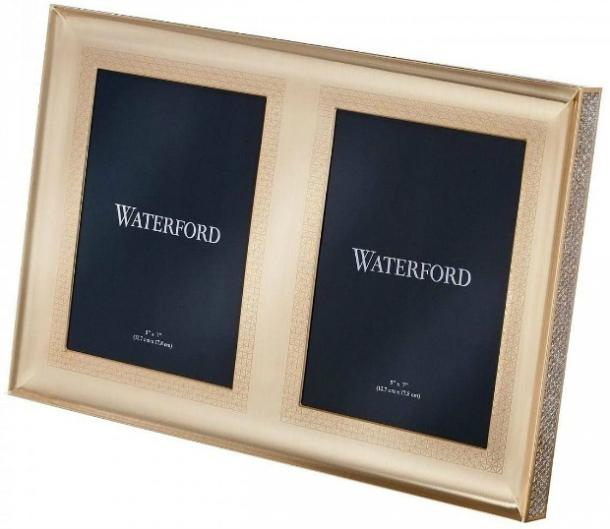 Waterford Lismore Diamond Gold Double Picture Frame