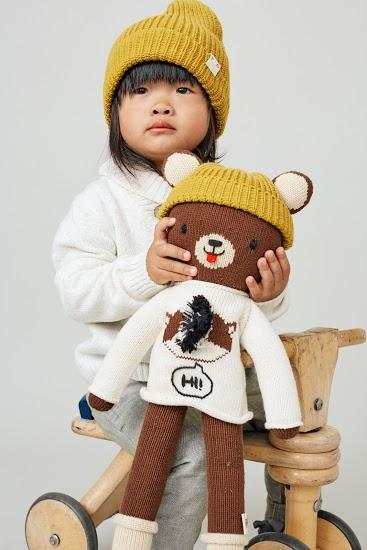 Red & Olive Mr. Beary (Bear) + Beanie Set