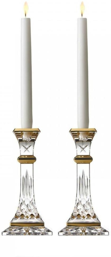 "Waterford Lismore Gold 8"" Candlestick Pair"