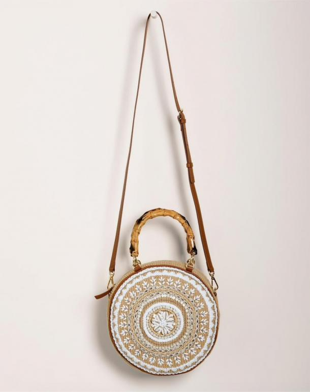 Faux-Shell Crossbody Circle Bag