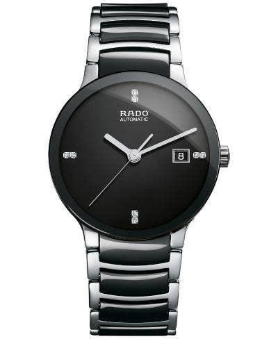 Rado Swiss Automatic Centrix Stainless Steel & Black Ceramic Bracelet Watch