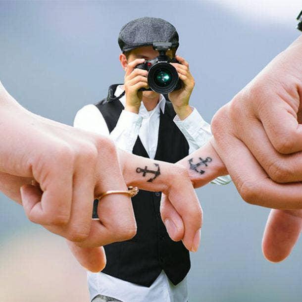 anchor wedding ring tattoo