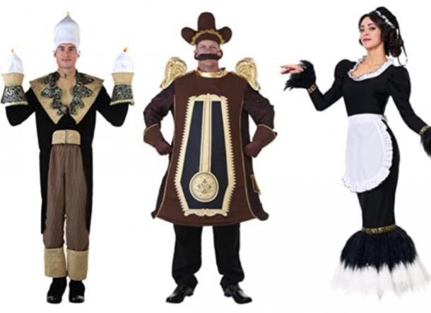 Beauty and the Beast Lumiere costume, Cogsworth clock costume, Plumette feather duster costume
