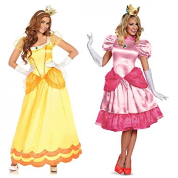 Princess Peach and Princess Daisy best friend halloween costumes