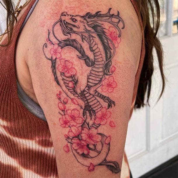 Cherry blossom dragon tattoo