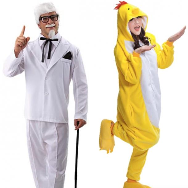 chicken and colonel sanders from KFC couples costume