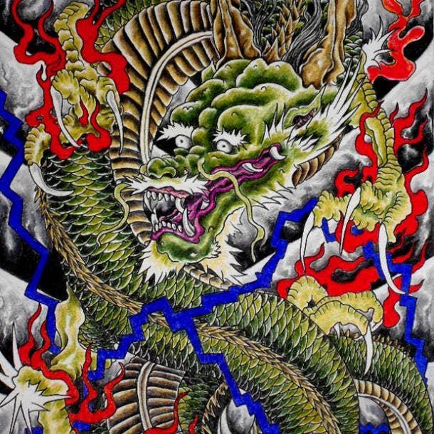 Colorful Japanese dragon tattoo