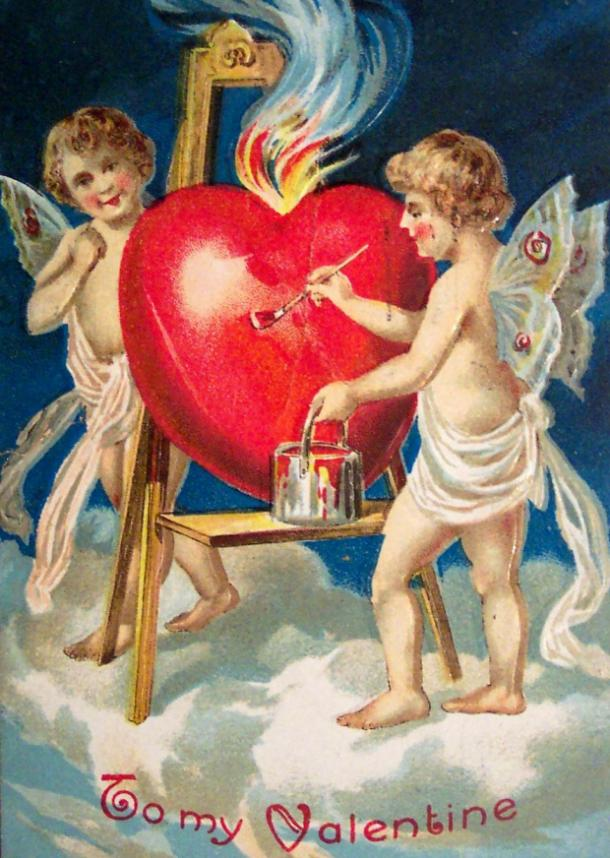 cupid on an antique valentine