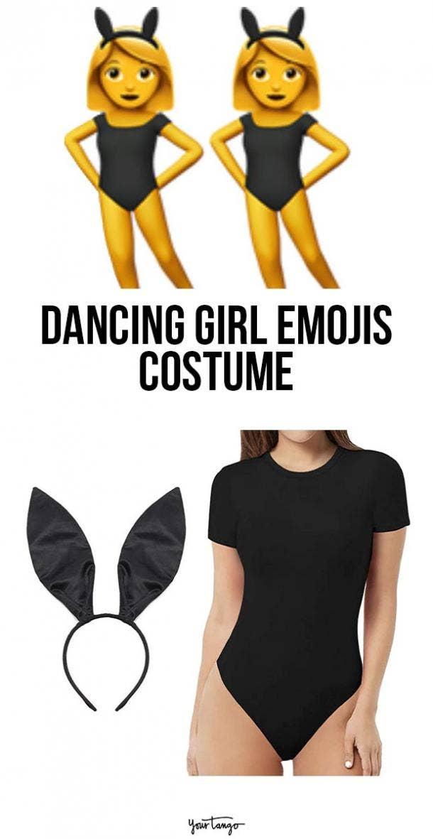 dancing girl emoji last minute halloween costumes