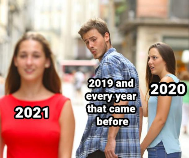 distracted boyfriend funny new year meme