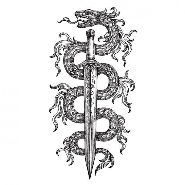 Dragon sword tattoo