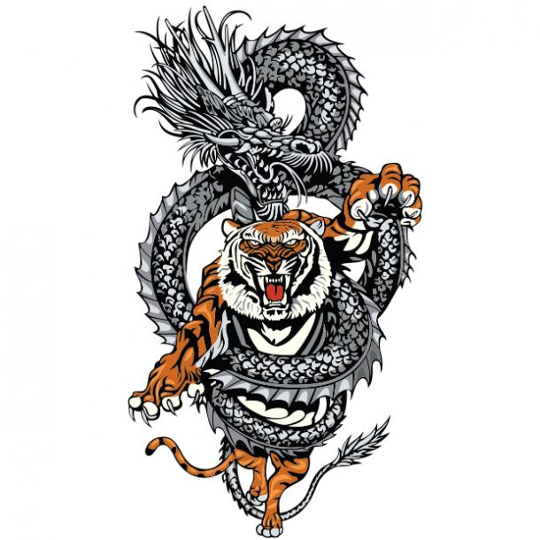 Dragon and tiger tattoo