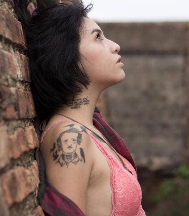 edgar allen poe tattoo idea for women