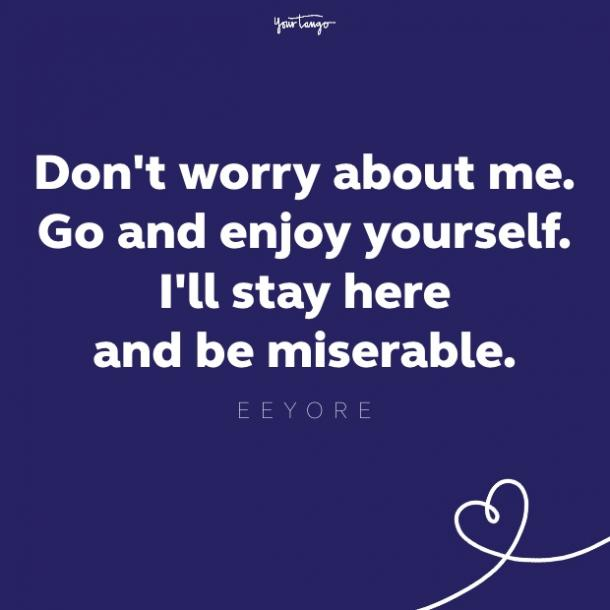 don't worry about me. go and enjoy yourself. i'll stay here and be miserable eeyore quote