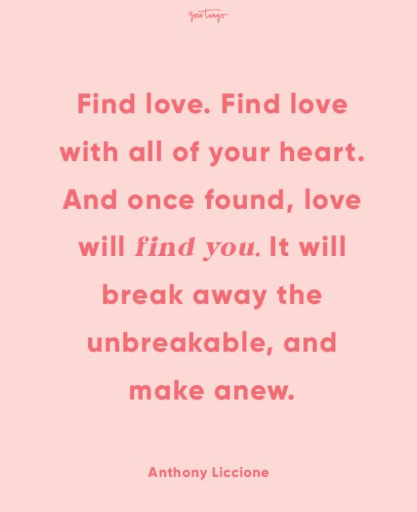Anthony Liccione finding love quote
