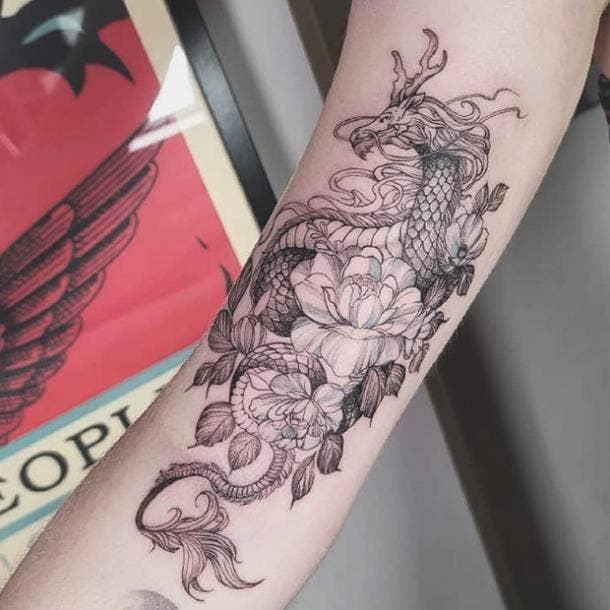 Floral dragon tattoo
