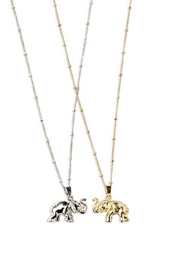 Ten Thousand Villages Elephant Charm Necklace Set