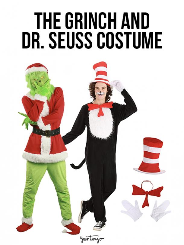 gay couple halloween costumes The Grinch and Dr. Seuss