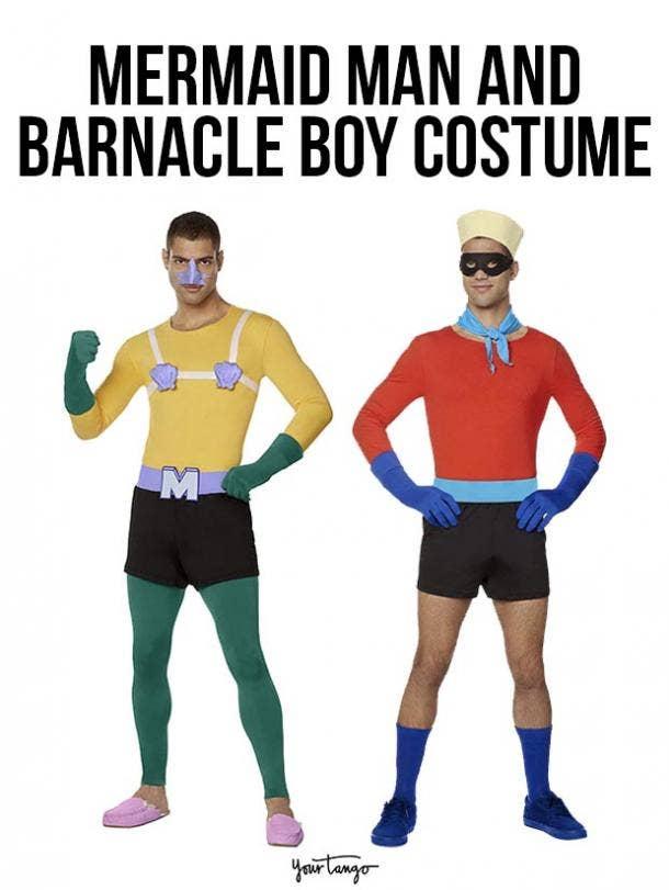 gay couple halloween costumes mermaid man and barnacle boy