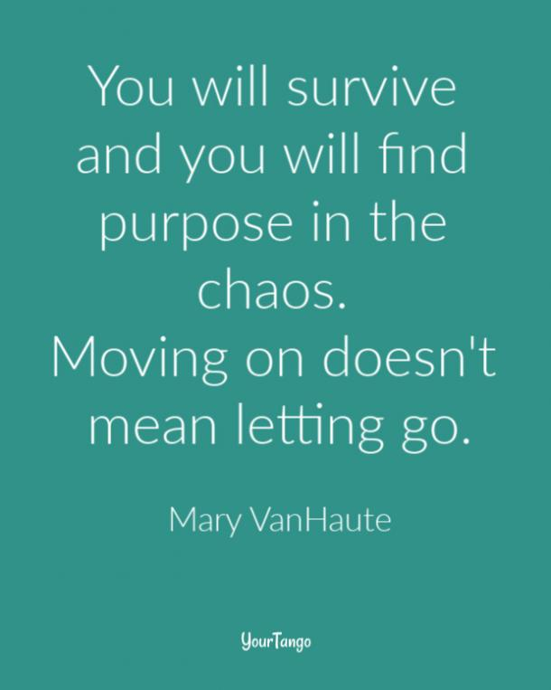 You will survive and you will find purpose in the chaos. Moving on doesn't mean letting go. Mary VanHaute