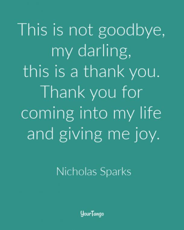 This is not goodbye, my darling, this is a thank you. Thank you for coming into my life and giving me joy. Nicholas Sparks