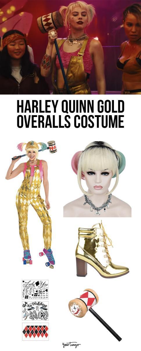 Harley Quinn's Gold Overall Rollerskating Outfit from 'Birds Of Prey' Costume