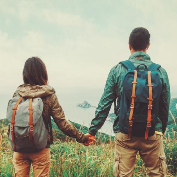 guy and girl on a hike