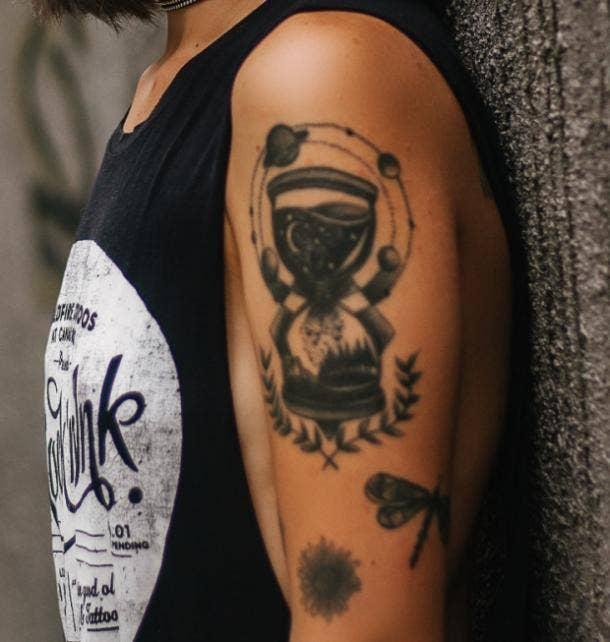 hourglass tattoo idea for women