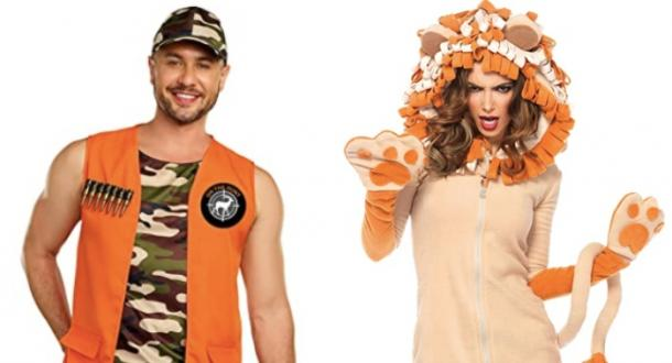 lion hunter and lioness couples costume