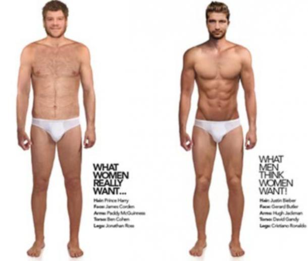 the ideal male body according to women vs what men think women want