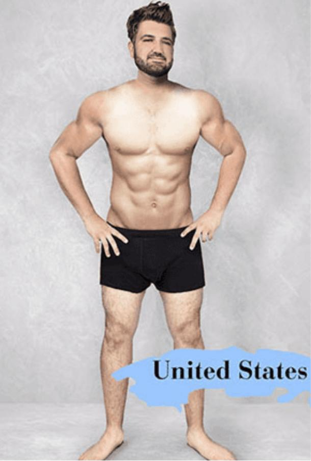 ideal male body type in the US