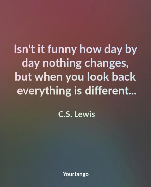 Isn't it funny how day by day nothing changes, but when you look back everything is different... C.S. Lewis