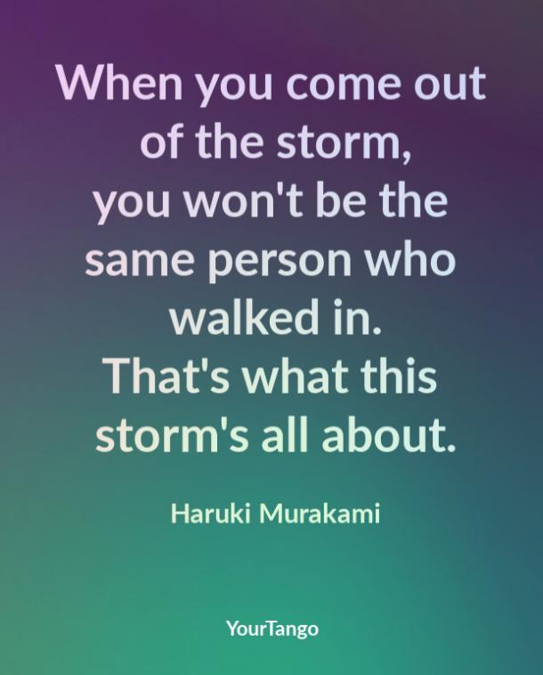 When you come out of the storm, you won't be the same person who walked in. That's what this storm's all about. Haruki Murakami