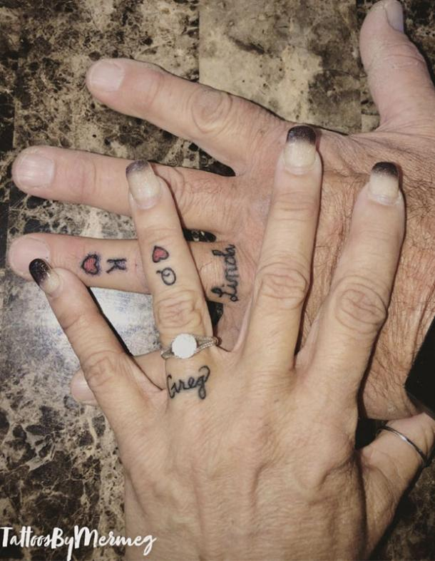 king and queen of hearts wedding ring tattoo