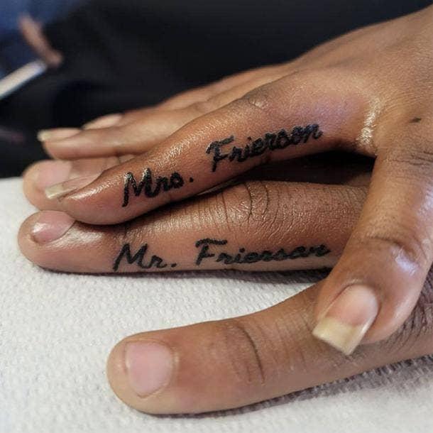 Last name wedding ring tattoo