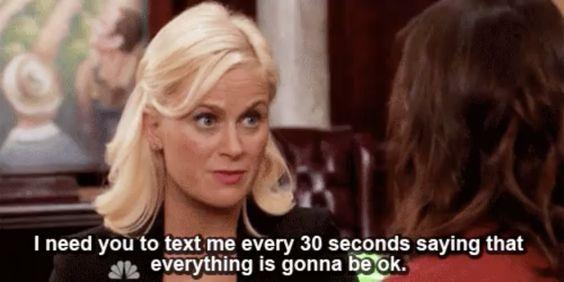 i need you to text me every 30 seconds saying everything is gonna be ok leslie knope
