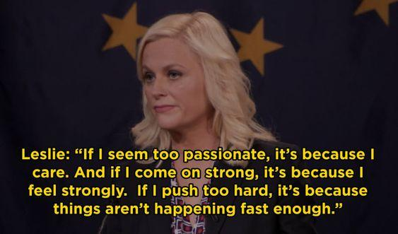 if i seem too passionate, it's because i care leslie knope