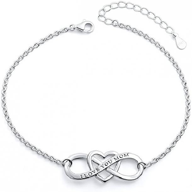 S925 Sterling Silver 'I Love You Mom' Heart Infinity Bracelet mothers day gift for girlfriend