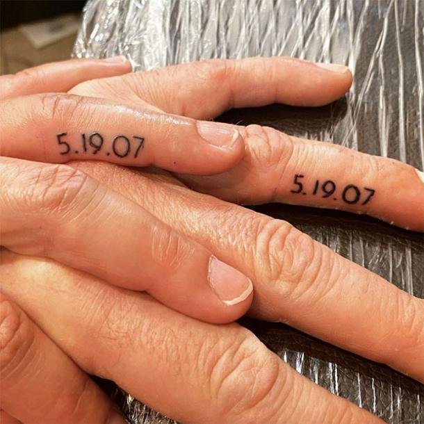 marriage date wedding ring tattoo